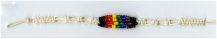 Rainbow Glass Bead Wish Bracelet-WhiteCord