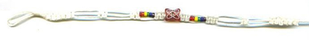 White cord with Rainbow glass beads/Butterfly bead
