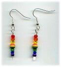 Silver-plated Rainbow Ball-paddle Earrings