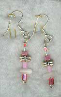 Silver-plated Pink/Pewter Butterfly Earrings