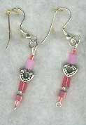 Silver-plated Pink/Pewter Heart Earrings