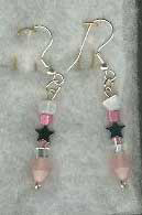 Silver plated Pink-Hematite Star Earrings