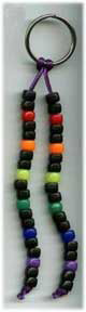 Keyring-2 satin cord & rainbow/black pony beads
