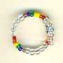 Ring-Rainbow and clear glass beads on memory wire