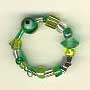 Ring-Assorted green glass beads