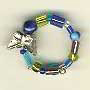 Ring-Assorted blue glass beads